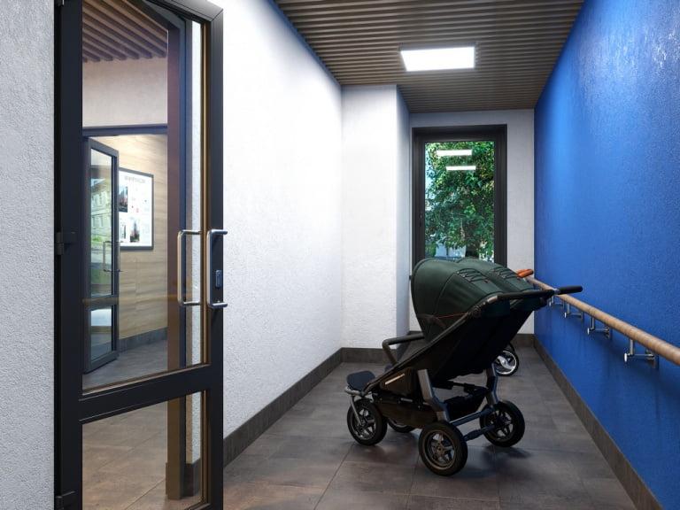 3d визуализация интерьера МОП жилого комплекса