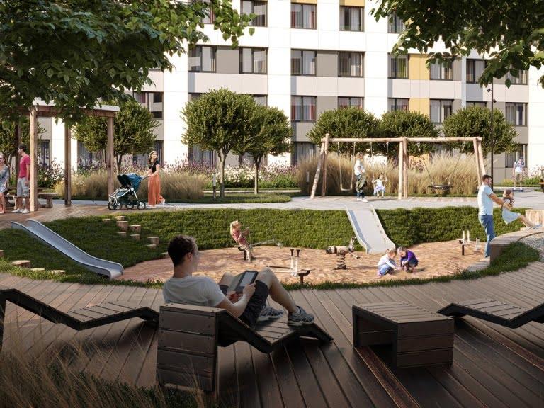 3d визуализация зоны отдыха в жилой застройке