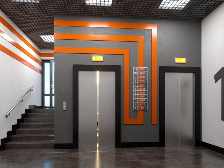 3d визуализация интерьера лифтовой холл жилого комплекса
