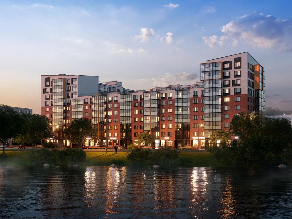 Архитектурная 3d визуализация с воды жилого дома