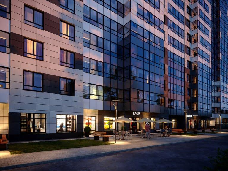 Ночная 3d визуализация жилого дома