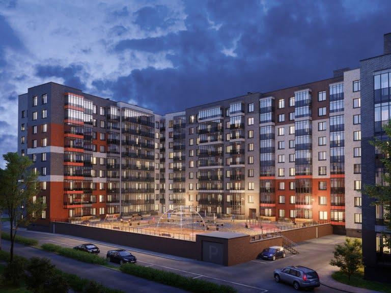 Ночная 3d визуализация кирпичного здания
