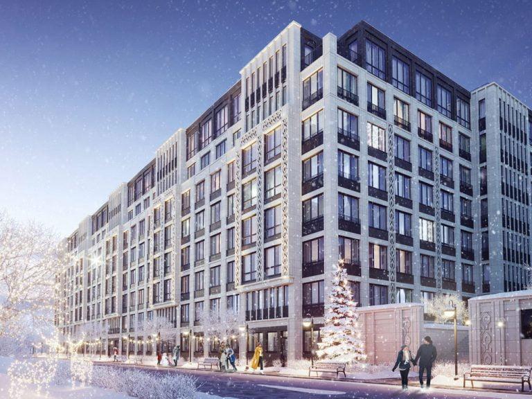 Зимняя 3D визуализация экстерьера здания