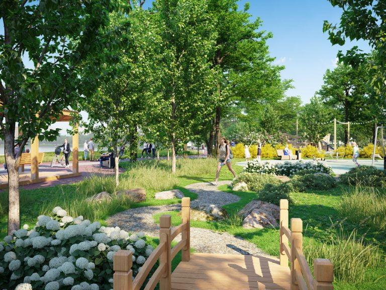 3d визуализация парковой зоны при жк