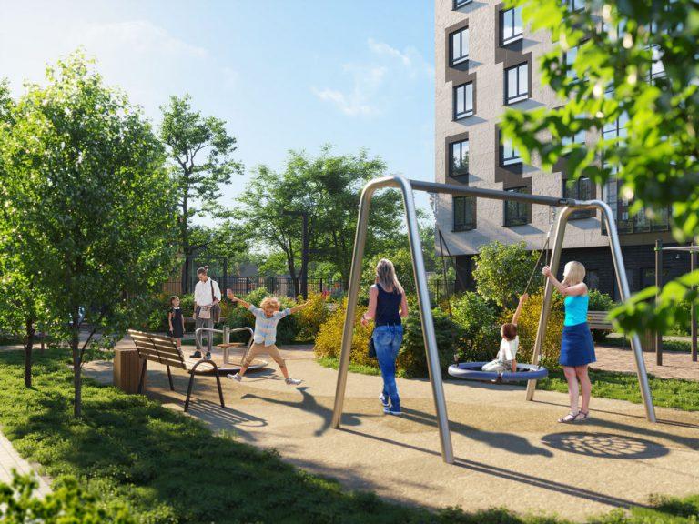 3d визуализация детской площадки жилого комплекса.