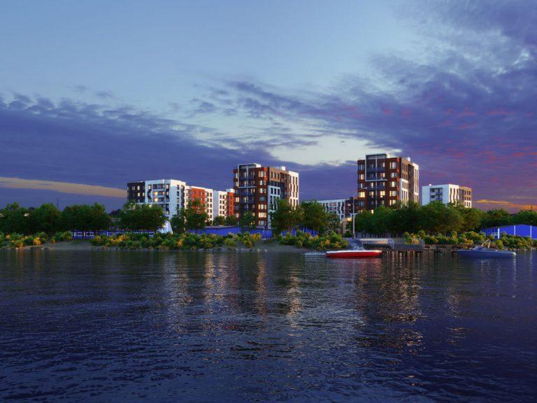 3d визуализация малоэтажного микрорайона. Вид с воды