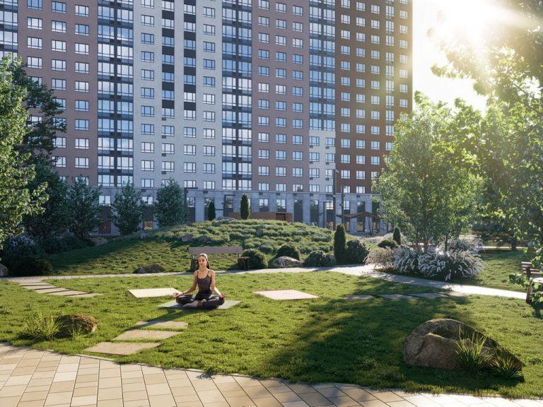 архитектурная визуализация дворовой части жилого комплекса