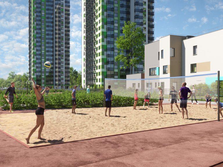 3d визуализация домов. Спортивная площадка, волейбол